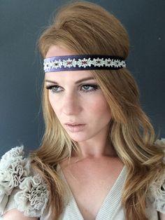 Violet Dreams  1920 Great Gatsby Dusty Violet Purple Silver Headband by Miss S-a Headbands