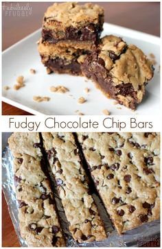 Chocolate chip cookie bars with a fudge filling! Takes cookie bars up a notch, for sure! Fudgy Chocolate Chip Cookie Bars: http://fabulesslyfrugal.com/?p=242510