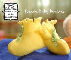 DIY baby booties-Super simple but imagine all the different possibilities!!! Gonna make a billion of these!!! Fleece to be warm in the fall and winter, maybe a cotton/spandex blend for spring/summer?! Yaysies!