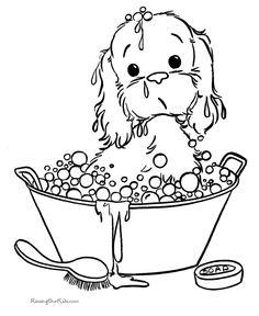 hand embroideri, kid printables, digi, color, puppi, dog, bubble baths