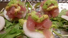 Tuna Tartar on Daikon Radish with Avocado Butter, Ginger-Sriracha Aioli, and Wasabe Caviar