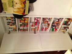 My new in wall pantry for canned goods.  Built between studs. No more wasted space!
