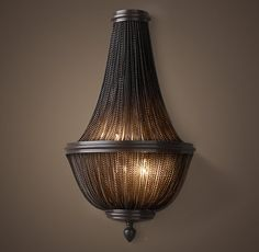 """19th C. French Empire Chainmail 23.5"""" Sconce - Bronze"""