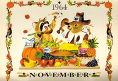 Golden Magazine Thanksgiving Calendar Page from November 1964 featuring a beautiful illustration by Richard Scarry. #vintage #1960s #fall #Thanksgiving #illustrations