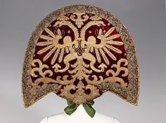 Traditional Russian embroidery design on 19th Century Headdress; from the collection of Natalia de Shabelsky (1841-1905)
