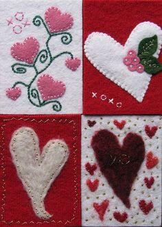 Valentine's Day wool felt hearts