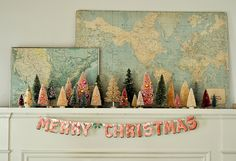 little christmas trees and maps