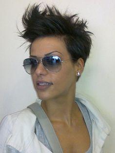 short spiky hair...