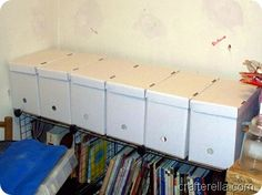 pattern storage idea - hanging file boxes from office supply store