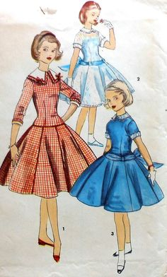 Vintage Girls Party Dress Sewing Pattern