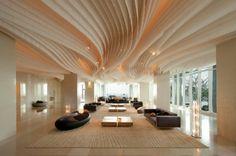lobbi, ceiling design, thailand, resort, ceilings, luxury hotels, hilton pattaya, hospitality design, modern design