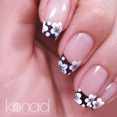 galleries, white flowers, nail stamping, flower art, new nails, nail arts, black white, french tips, polish