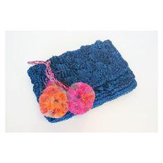 Pom Pom Straw Weave Clutch Bag - Blue