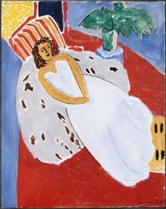 Young Woman in White, Red Background  - Henri Matisse