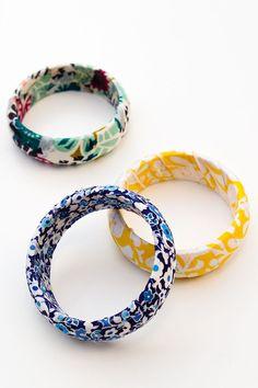 DIY Fabric Wrapped Bangle Bracelets