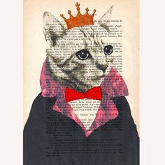 The Original Cat King - ORIGINAL ARTWORK Hand Painted Mixed Media on 1920 famous Parisien Magazine 'La Petit Illustration' by Coco De Paris