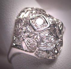 Antique Platinum Diamond Wedding Ring Vintage by AawsombleiJewelry,