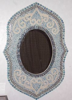 BEAUTIFUL BLUE STAINED GLASS MOSAIC ART MIRROR