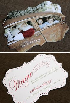 Custom Christmas card design. Love the vintage photo, the fonts, the shape. {LLH Designs, 2010}