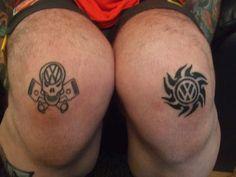 Huge Volkswagen fan tattoos... on knees!