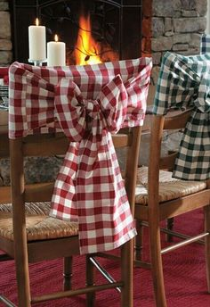 wooden chairs, gingham, chair covers, idea, chair sashes, wow factor, chair backs, country kitchens, bow