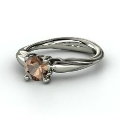 Adora Knot Solitaire Ring, Round Smoky Quartz Sterling Silver Ring from Gemvara