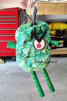DIY Plankton Pinata for Spongebob party.