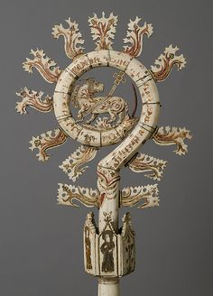 Crozier, early 14th century,  Northern Italian. Bone and paint