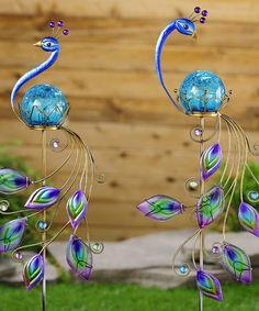 Iron  Glass Peacock Stake Set