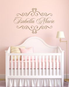 Personalized Baby Nursery Name Vinyl Wall Decal Elegant Shabby Chic Heart Frame Wall Decal Baby Room Girl Bedroom Wall Art 22H x 36W FS291 via Etsy