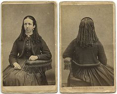 Front and back views of a tight ringlet curl c. 1860s hairstyle. #vintage #Victorian #hair #women