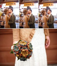 crochet bouquet - bridesmaids all had crochet bolero (white) over different coloured (bright) dresses; bride wore light brown edge-to-edge cardigan, ushers wore same brown but in jerseys - with blue or grey trousers (not all the same)