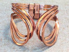 Vintage RENOIR Copper RHYTHM Modernist Hinged Clamper Bracelet #Renoir
