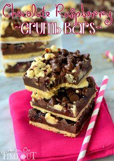 Chocolate Raspberry Crumb Bars | MomOnTimeout.com #chocolate #recipe