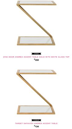 Zinc Door Andrea Accent TAble Gold with White Glass Top $335  -vs-  Target Safavieh Andrea Accent Table $134