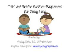 """FREE printable cards: """"Wh"""" and Yes/No Question Supplement for Candy Land...This product contains who, what, when, and where questions. There are 10 questions each. There are 20 yes/no questions."""