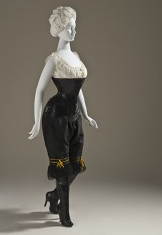 Corset and Pantaloons: ca. 1900, English, leather and metal, embellished linen.