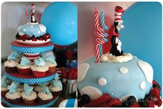 Cat in the Hat-themed 2nd birthday party- The Cake & cupcake tower