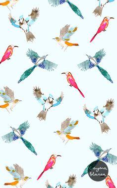 watercolours #birds #pattern