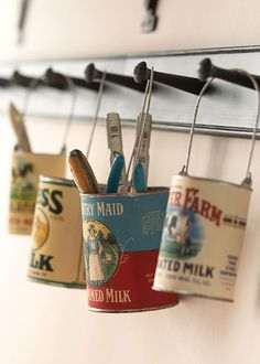 Tin Can Storage:: Love this for the garage or work shop!