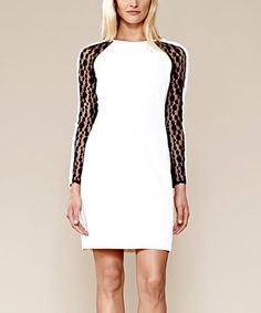 This White & Black Lace Sleeve Dress by Julia Jordan is perfect! #zulilyfinds