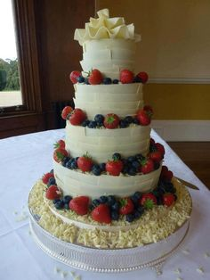 White Chocolate Wedding Cake with Strawberries and Blueberries