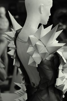 3D Geometric Dress - wearable art; paper sculpture dress; experimental fashion design