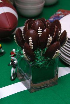 Football chocolates. #Superbowl #Football #Party