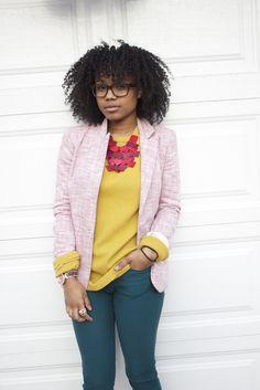 feminine + pink + tweed-ish (via Faintly Masculine)
