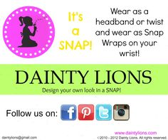 SNAP TO IT AND FOLLOW US  www.facebook.com/DaintyLions11  www.daintylions.com  #accessories for girls  #accessories  #unique  #interchangeable