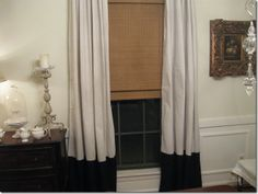 Going to make these drop cloth curtains for my living room with a different accent color.