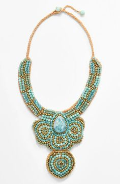 mint and blue beaded rope necklace.