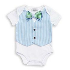 Boys Blue Stripe Seersucker Vest Crawler