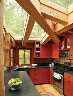 roof, red kitchen, cabin, window, color, glass, sky lights, beam, dream kitchens